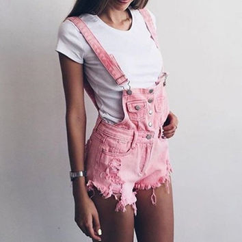 2017 Casual jeans overalls Summer rompers Womens pink playsuits Fashion Denim overalls Femme Hole bottom jeans shorts
