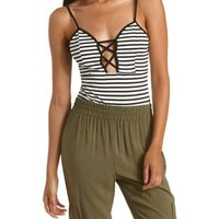 Black/White Strappy Striped & Caged Bodysuit by Charlotte Russe