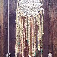 Amethyst, Turquoise, & Off White Crochet Doily Lace Shabby Chic Boho Dreamcatcher // Nursery Decor // Beach Decor