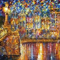 """BEAUTIFUL NIGHT — Palette Knife Oil Painting On Canvas By Leonid Afremov 40""""x30"""""""