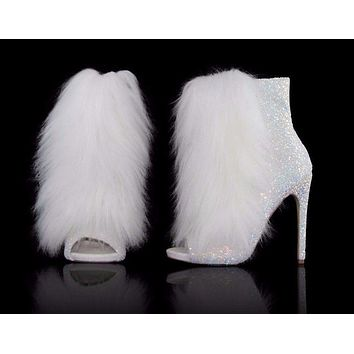 "Nelly B Bestie White Ice Glitter Vegan Fur Open Toe 4.5"" High Heel Ankle Boots"