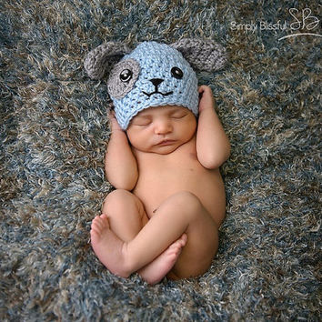 Newborn infant Baby Boy Crochet puppy dog beanie hat made to order