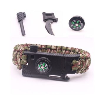 Military Outdoor Paracord Survival Bracelet 550 LB - Hiking Travelling Camping Gear Kit - With Compass, Flint Stone, Fire Sticks, Knife, and Whistle
