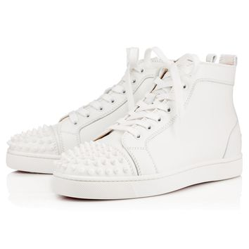 Christian Louboutin Cl Lou Spikes Men's Flat White/white Leather Classic Sneakers - Best Deal Online