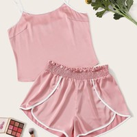 Contrast Binding Satin Cami Top and Dolphin Shorts Set