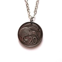 Kiwi Bird Coin Necklace Pendant New Zealand 1985 20 Cents Upcycled Repurposed Eco Friendly Animal Jewelry by Hendywood