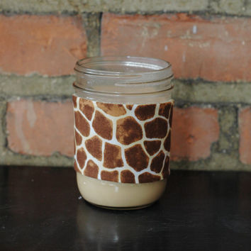 Giraffe and Taupe Mason Jar Tumbler Koozie by chwhcrafts on Etsy