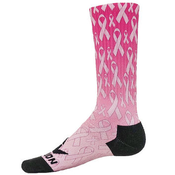 STRENGTH Sublimated Crew Socks breast cancer awareness pink ribbon mens boys girls womens
