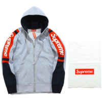 Supreme tide brand autumn and winter men and women couple new combed color sweater coat loose head plus velvet Gray
