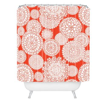 Heather Dutton Delightful Doilies Saffron Shower Curtain