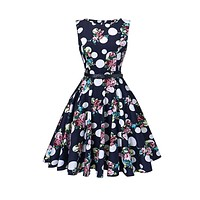 Tea Length Cocktail Dress, Blue Floral Dot, US Sizes 4 - 26