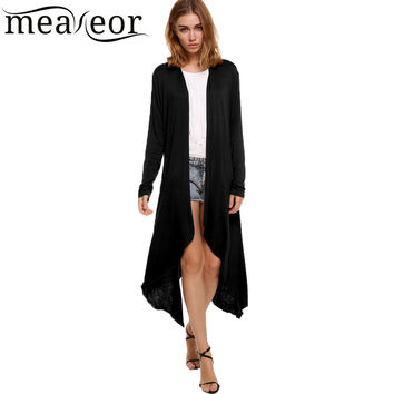 Meaneor Brand New kimono Cardigan Women casual winter female cardigan white black Crochet Knitted Blouse Tops Lady long Sweaters