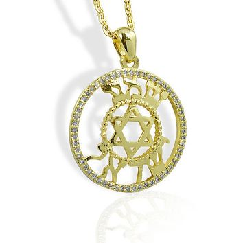 Gold-Tone Shema Israel Jewish Star Necklace
