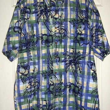Mens Ralph Lauren Hawaiian Shirt vintage 80s L XL Chaps Sportsman Camp Plaid Palm Trees  Blue Green White Surf Beach