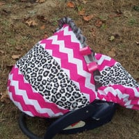 Grey Cheetah Pink Chevron Stripe hot pink minky baby car seat cover infant seat cover slip cover Graco fit or evenflo