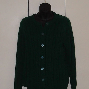 vintage 1980s Miss K green cardigan sweater