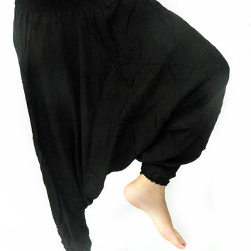 All Black Ninja asia Bohemian Drop Crotch Pants Yoga Gypsy Harem Wide Legged Pants boho dance pants arabic