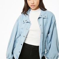 Denim Batwing-Sleeve Jacket