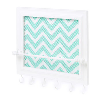Framed Chevron Stripe and Mesh Hanging Jewelry Holder