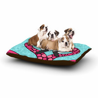 "Art Love Passion ""Pink Flamingos"" Blue Magenta Dog Bed"