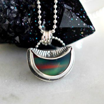 Northern Lights Opal Crescent Moon Pendant