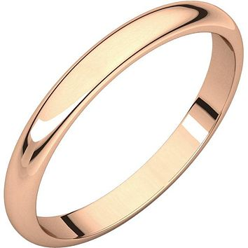 10K Rose 2.5 mm Half Round Band Size 7.5 w/ Outside Engraving
