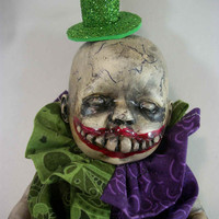 "One of A Kind Altered Art Creepy Doll ""Why So Serious"" Freak Ghoulish Haunted Scary Odd Weird L.Cerrito Salvage Artist Doll"
