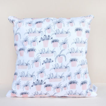 Pink Plant Pots Illustrated Cushion by Chloe Hall