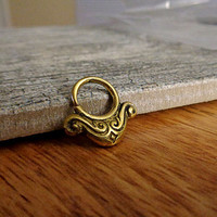 Indian Style Brass Ring For Pierced Nose, Septum, Earring, Cartridge Ring, Tragus Ring Nipple ring, Bendable, 14G 16G