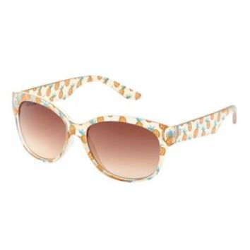 Clear Pineapple Print Plastic Sunglasses