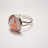 Divergent Faction Dauntless Orange Flame Silver Metal Adjustable Ring
