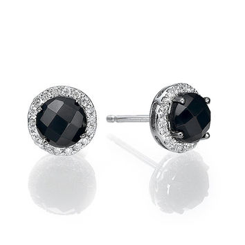 14K White Gold Earings Set With Synthetic gemstone And Diamonds,Gold Earings,Unique Earings