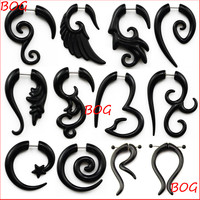 Pair Black Acrylic Fake Cheater Twist Spiral Ear Taper Gauges Expander Earring