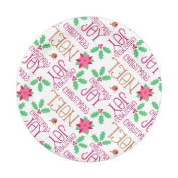 Pink Green Gold Christmas Word Art Paper Plates 7 Inch Paper Plate