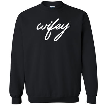 Zexpa Apparel™ Wifey Couple Matching Unisex Crewneck Anniversary Valentines Day Sweatshirt
