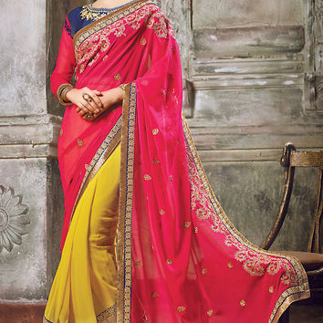 Pink Blue and Mustard Yellow Georgette Embroidered Saree