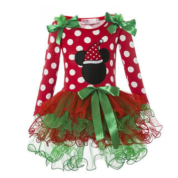 Kids  Girls Clothing Christmas Costume toddler kids dresses For Girls Clothes tutu dress Christmas elk Dots Girl princess Dress