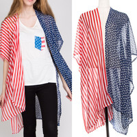 Women USA AMERICAN FLAG Kimono Ruana Cardigan Vest Scarf Shawl wrap 4th of july