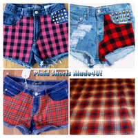 Plaid Shorts Made for You. We make all sizes. Jean shorts with plaid panels in front and studs. Grunge, hipster, tartan