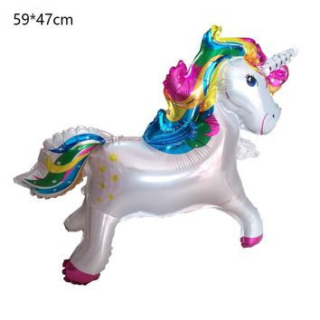10pcs cute Cartoon Unicorn Balloon Aluminum Foil Balloons For Birthday Party Inflatable Balls Decoration kids toys 59*47cm