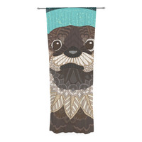 """Art Love Passion """"Otter in Water"""" Blue Brown Decorative Sheer Curtain"""