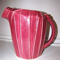 Vintage McCoy Pink Pitcher, Raised Ribbon Design, Side Handle, Large Spout