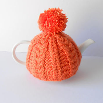 Orange Tea Cozy.  Knit Tea Cosy. Teapot warmer. Cable Knit Tea Cozy. Kitchen Accessories. Handmade Tea Cozy.
