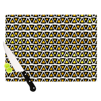 "Pom Graphic Design ""Aztec Triangles Gold"" Yellow Black Cutting Board"