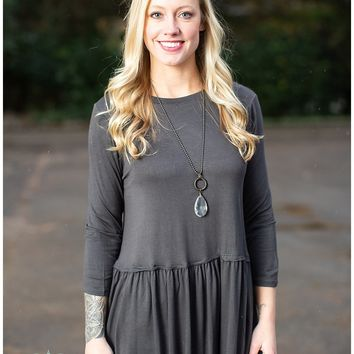 Ash Gray 3/4 Sleeve Peplum Top
