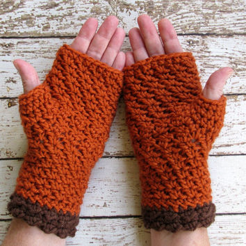 Fingerless Gloves, Pumpkin and Brown Winter Gloves, Burnt Orange Wrist Warmers, Ready to Ship