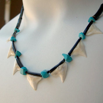 Vintage Black Coral Bead Necklace Sharks Tooth Turquoise 1970's
