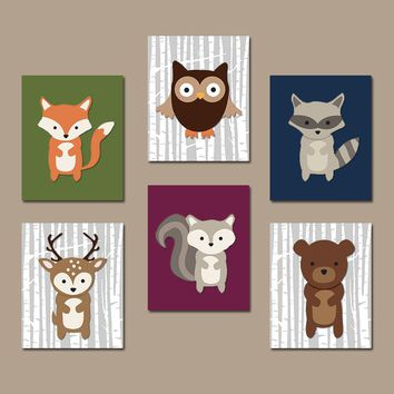 WOODLAND Nursery Decor, Woodland Nursery Theme, Woodland Animals Wall Art, Birch Wood Forest Animals Decor, Canvas or Print Set of 6 Art