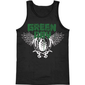 Green Day Men's  Handgrenades Mens Tank Black Rockabilia