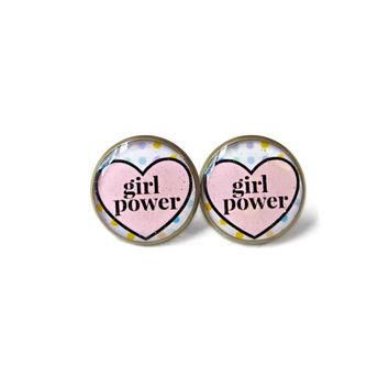 Girl Power Conversation Heart Stud Earrings - Funny Anti Valentine's Day Jewelry - Pas